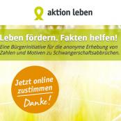 """Screenshot der Webseite der """"Aktion Leben"""""""