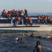 Syrische und irakische Flüchtlinge bei Skala Sykamineas (Lesbos)