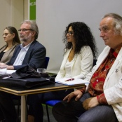 Das Podium: Daniela Wakonigg, Walter Otte, Handan Aksünger, Frieder Otto Wolf (v.l.nr.r)