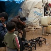 Flüchtlinge in einem Camp bei Aleppo.