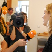 ZDF-Reporter bei der Arbeit