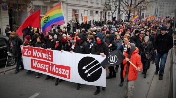 Antifaschistische Gegendemo am 11. November 2019 in Warschau