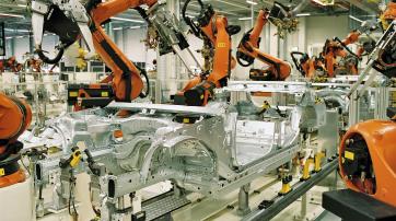 Karosseriebau im BMW Werk Leipzig