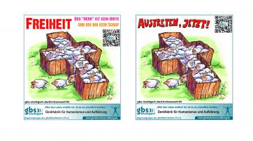 Werbeanzeigen zum Kirchenaustritt der gbs Stuttgart/Mittlerer Neckar