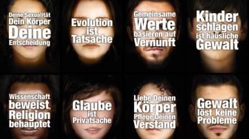 Plakate der Plakatkampagne der Freidenker Schweiz.