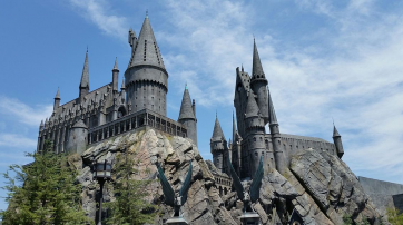 Hogwarts Castle in The Wizarding World of Harry Potter at Universal Studios Hollywood.