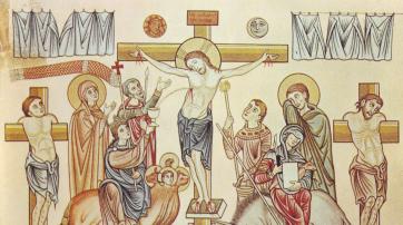 Die Kreuzigung Jesu Christi, Illustration aus dem Hortus Deliciarum der Herrad von Landsberg (12. Jahrhundert)