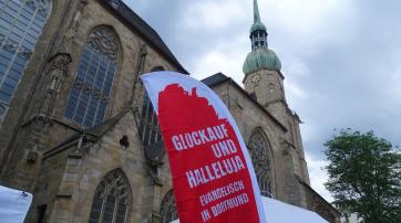 Die Dortmunder Reinoldikirche während des Evangelischen Kirchentags 2019
