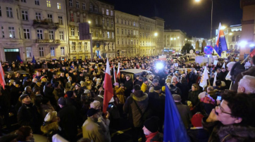 "Proteste gegen den ""Maulkorb-Erlass"" in Poznan."