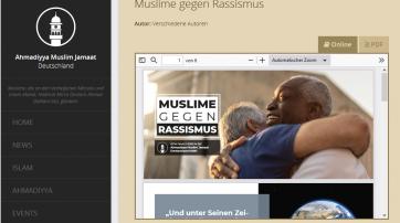 Screenshot von der Webseite https://ahmadiyya.de