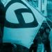 Die Fahne der Identitären Bewegung bei einer AfD-Demonstration
